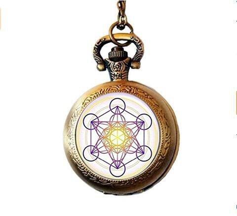 Metatron's Cube Taschenuhr Halskette Hexagramm Heilige Geometrie Halskette Geometrischer Schmuck für Herren Chakra Halskette