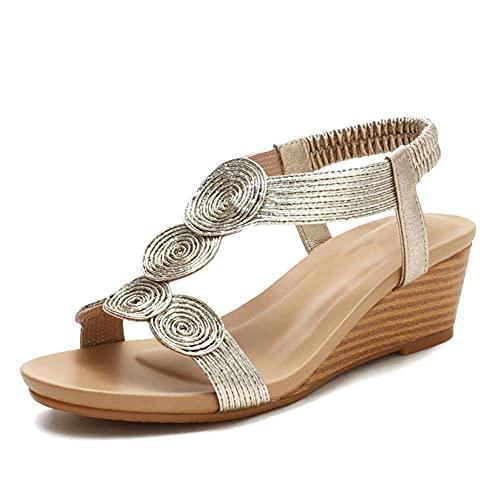 NFRADFM Frauen-Keil-Sandelholz Gold-Gladiator-elastische Band-Peeptoe Absatz-Sommer-Strand-Party-Schuhe