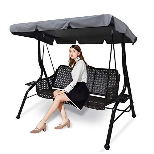 Ersatzdach für Hollywoodschaukel 3 Sitzer, Gartenschaukel Bezug für Hollywoodschaukel/ Hängematte, wasserdichtes Dach für Gartenschaukel, UV-Schutz (L)