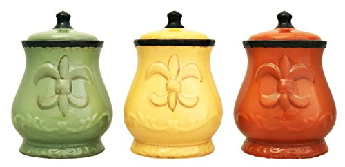 Tuscany Colorful Hand Painted Fleur De Lis 7'H Canisters, Set of 3, 82002 by ACK