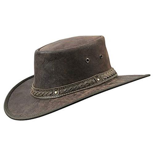 Chapeau en cuir de kangourou Barmah 1018 Kangaroo Crackle / marron - Marron - Large