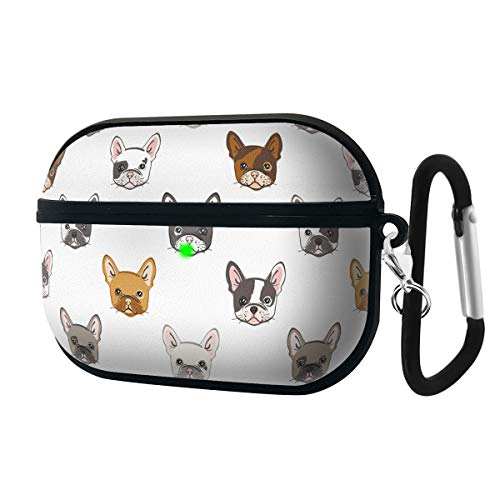 Luxury Classic Elegant PU Leather Protective Shockproof Cover Case Compatible with AirPods Pro - Cartoon Pattern with Cute French Bulldog