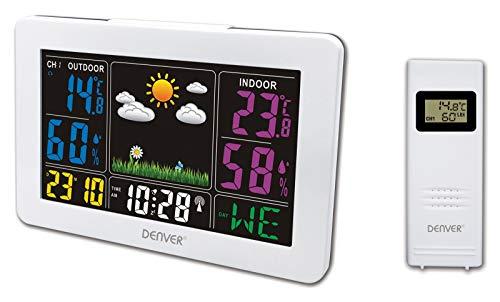 Denver WS-540 Weerstation met buitensensor, alarmfunctie en kleurendisplay, en meting van temperatuur en luchtvochtigheid wit