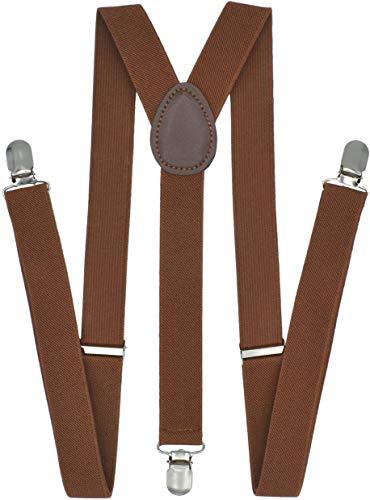 Trilece Suspenders for Men - Adjustable Elastic Y Back Style Suspender - Strong Clips - Various Colors (Brown)