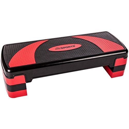 ScSPORTS Stepper/Stepbench Aerobic-Fitness-Steppbrett, schwarz rot, 3-Fach höhenverstellbar, 78 x 30 x 10/15/20 cm