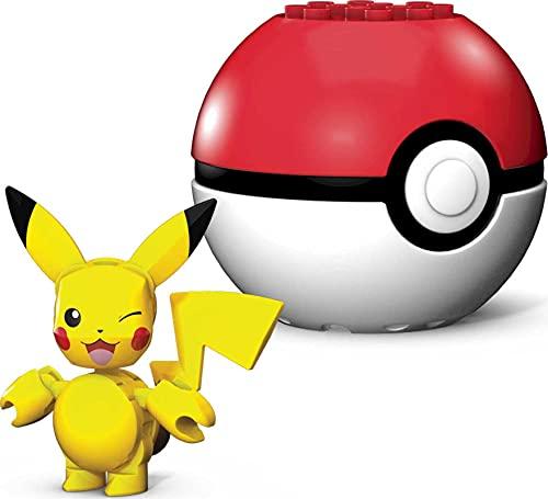 Mega Construx GKY69 - Pokemon Pikachu Bauset mit Pokeball, 16 Bausteinen, Spielzeug ab 6 Jahren