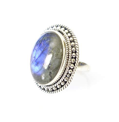 Anillo de plata de ley 925 con piedra natural genuina de moda hecha a mano, anillo bohemio étnico y fino de labradorita tribal, tamaño 7.5