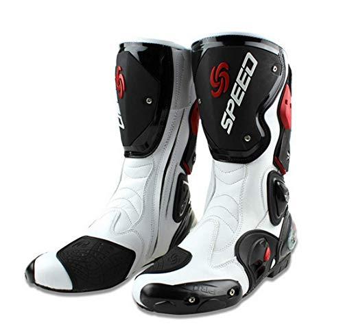 Stivali Moto da Pista Racing Professionale Antiscivolo Traspirante Impermeabile (Bianco, 45)