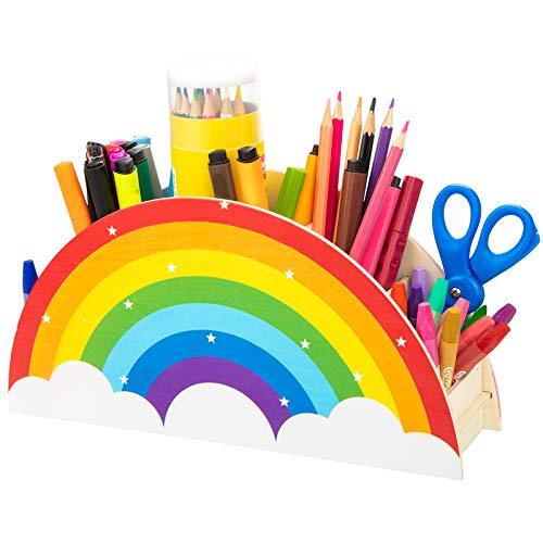 Wooden Pen Pencil Holder for Kids Desk Organizer,Rainbow Pen Pencil Crayon Organizer for Office School Supplies,Art Caddy Supplies,Makeup Brush Organization
