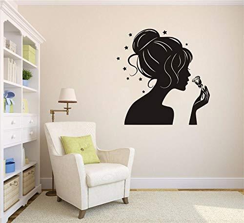 yiyiyaya Wandtattoos Mädchen Silhouette Dame Mädchen Haar Aufkleber Friseursalon Shop Wandaufkleber Kunst Vinyl Wohnzimmer Adhesive42X42CM