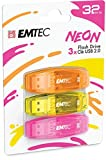 EMTEC - Memoria Flash USB 2.0 C410 de 32 GB, Lectura de 5 MB/S, Escritura de 15 MB/S, Compatible con USB 2.0, USB 3.0, Transparente neón neón con Tapa, Pack de 3