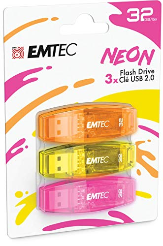 EMTEC - Memoria Flash USB 2.0 C410 de 32 GB, Lectura de 5 MB/S, Escritura de 15 MB/S, Compatible con USB 2.0, USB 3.0,...