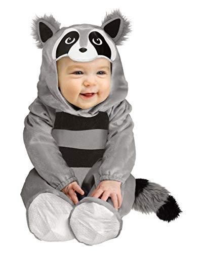 Horror-Shop Baby Tierkostüm Waschbär | kuschelweich für Fasching S,M S (6-12 Monate)