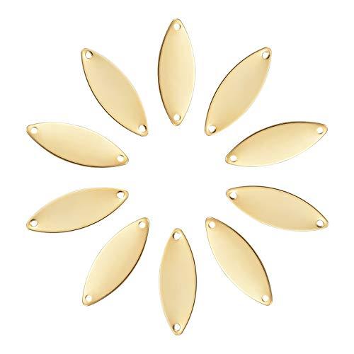 UNICRAFTALE Alrededor de 30 Pieza de Eslabones de Ojo de Caballo Dorado Eslabones de Acero Inoxidable de Aproximadamente 21 mm de Largo Conectores de Amuleto de Enlace de 1 mm de Agujero Colga