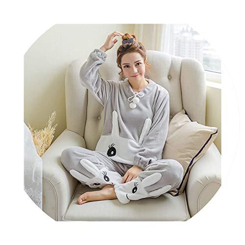 Best Rated for Winter Gift Women Pajamas Set Sleepwear Kawaii Animal Warm Home Clothes Nightgown Pajamas,Medium,SmileRabbitGray11