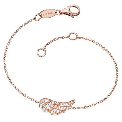Engelsrufer Flügel Armband für Damen Rosévergoldet 925er-Sterlingsilber Weiße Zirkonia Länge 16 cm + 2 cm
