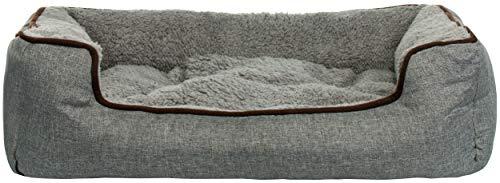 Brandsseller Haustierbett mit Wendekissen Hundebett Katzenbett rutschfest ca. 87x75x18 cm Grau