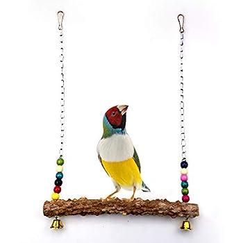 Houdao Parrot Toys Jouet Perruche Perruche Balançoire en Bois Naturel avec Cloches et Perles colorées Support Suspendu Fait à la Main pour Grand Oiseau Ara Poulet, Formation de coqs et Jeux