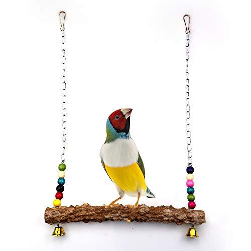 Houdao Wellensittich Spielzeugfür Den KäfigWellensittich Zubehör mit GlockenNatürlich Vogelschaukel HolzSitzstangen für Vögel WellensittichePapageien, Kanarienvogel nymphensittich Hühner