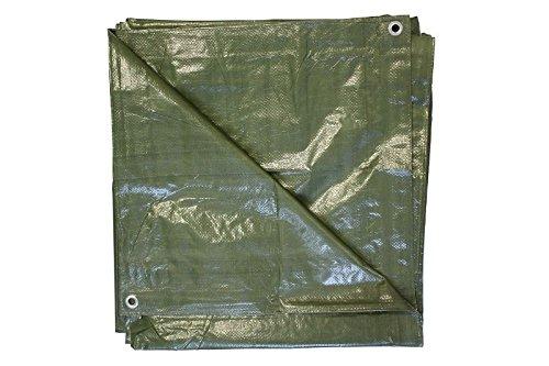Bâche/bâche en tissu vert olive avec œillets, 6 x 8 m, 110 g/m²