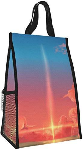 Bolsa de almuerzo plegable, bolso de mano de picnic de gran capacidad portátil con aislamiento Sunset para viajes de oficina de trabajo