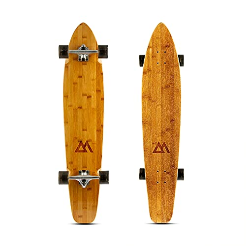 Magneto 44 inch Kicktail Cruiser Longboard Skateboard | Bamboo and Hard Maple Deck | Made for Adults, Teens, and Kids … (Black)