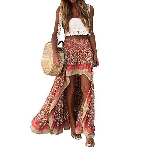 Timagebreze Faldas Largas con Estampado Boho Pantalones de Mujer Falda EláStica Cintura Gitana Falda éTnica para Mujer Talla M Rojo