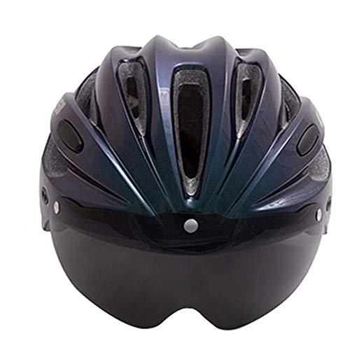 Cascos Casco De Bicicleta Gorras De Bicicleta Mujeres Hombres Ajustable Transpirable Ultraligero Casco De Bicicleta Gafas Equipo De Ciclismo para Mujeres Hombres-Azul_Talla Única