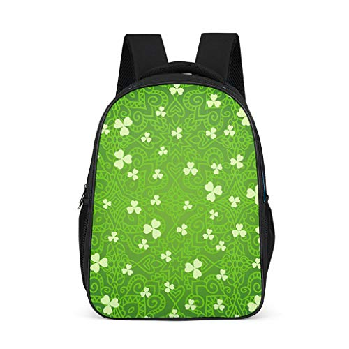 Daiyyjunn St Patrick es Day Backpack Pattern Book Bag Durable Daypack for Excursion Daypacks Students Grey One Size