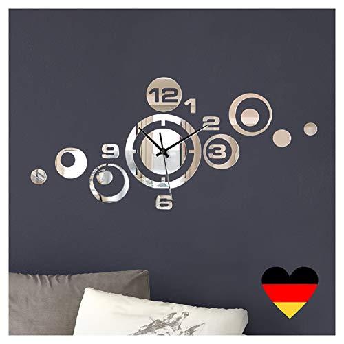 Wandora Dekouhr mit Spiegel I (BxH) 53 x 24 cm I Moderne Design Wanduhr Uhrwerk 3D Design Wanddeko Aufkleber selbstklebend Wandaufkleber Wandtattoo W1539
