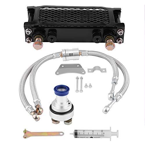 Qiilu oliefiler, motorfiets motorolie koeler oliekoeler systeem kit voor CB CG 100CC-250CC motorfiets olie-koeler duurzame onderdelen 65ML zwart