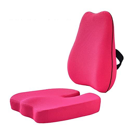 cojines para sillas Cojín de asiento y almohada de soporte lumbar para silla de oficina, soporte lumbar de espuma de memoria para almohada ciática, espalda baja y alivio del dolor de tailbone