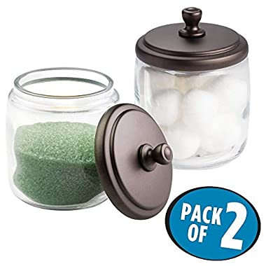 mDesign Bathroom Vanity Glass Storage Organizer Canister Jars for Q tips, Cotton Swabs, Cotton Rounds, Cotton Balls, Makeup Sponges, Bath Salts - Pack of 2, Short Clear/Bronze