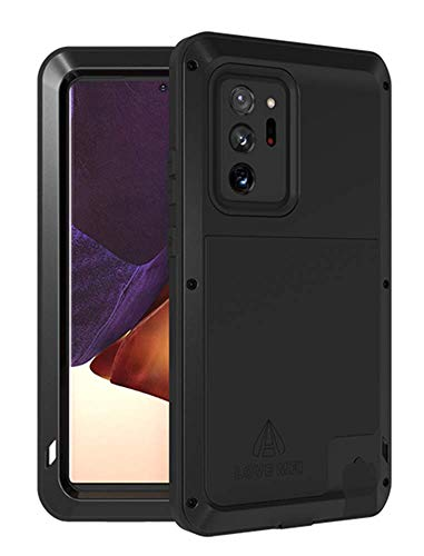 LOVE MEI for Samsung Galaxy Note 20 Ultra Case,Heavy Duty Outdoor Shockproof Dustproof Hybrid Aluminum Metal Robust Military Bumper Protective Case for Samsung Galaxy Note 20 Ultra (6.9 inch) (Black)