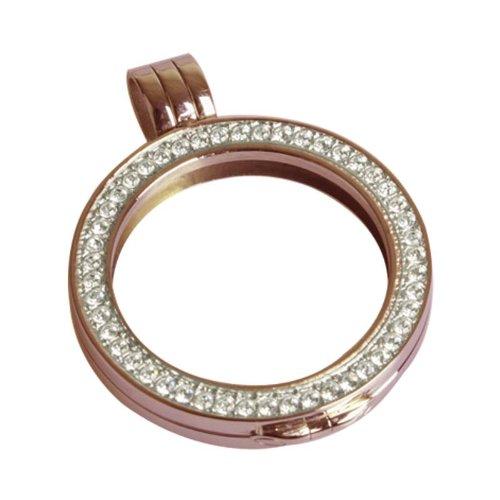 Quoin Damen-Münzfassung Rahmen für Münzen Größe: M Vergoldet teilvergoldet Zirkonia weiß - QHO-06M-R
