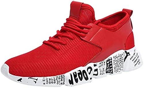 ZHRUI Abstand Damen und Herren Paar Outdoor Mesh Schuhe Casual Casual Casual Lace up Bequeme Sohlen Turnschuhe Gym Laufschuhe Sportschuhe (Farbe   3-rot, Größe   4.5 UK)  wird abgezinst