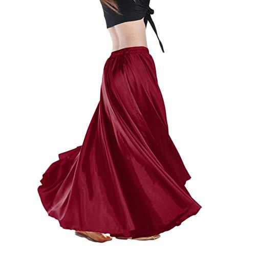 Falda Larga Color Sólido Satén Mujer Falda De Danza De Vientre Profesional Swing Maxi Ropa Vino Rojo Un tamaño