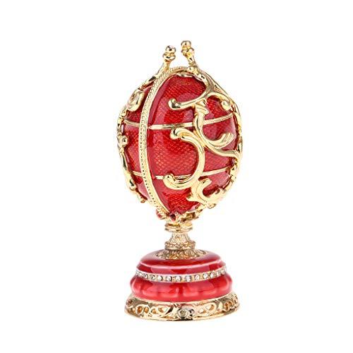 Bonarty Retro Uovo di Pasqua ornamento per la casa con cristalli, centrotavola per casa, camera da letto, soggiorno, decorazione regalo per compleanno, San Valentino, Rosso