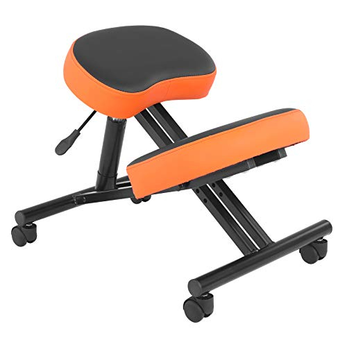 Modern-Depo Home Office Kneeling Chair Ergonomic Rolling Knee Desk Chair Adjustable Stool, Angled Seat Improve Posture, Orange