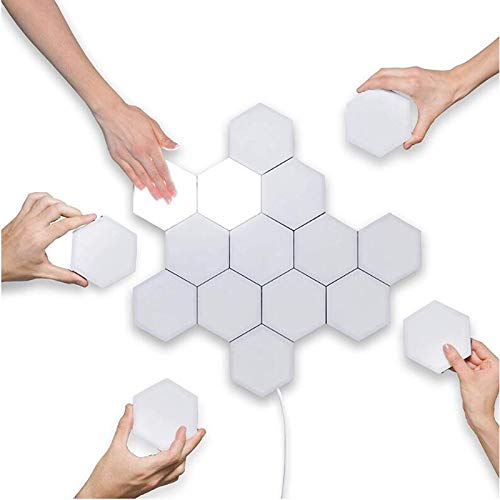 1-10PCS Touch Sensitive Lighting Lamp Hexagonal Lamps Quantum Lamp Modular LED Night Light Hexagons Creative Decoration Lamp - 5 PCS With adapter,RGB and changeable,a1