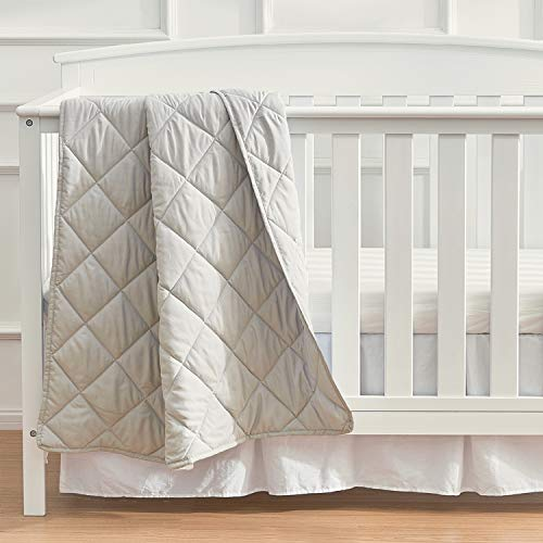 EXQ Home Toddler Comforter Baby Quilt Blanket Soft Lightweight,39X47 Inches Polyester Toddler Nursing Blanket for Infant and Newborn, Ultra Soft for Crib Bed,Stroller,Travel(Silver Grey)