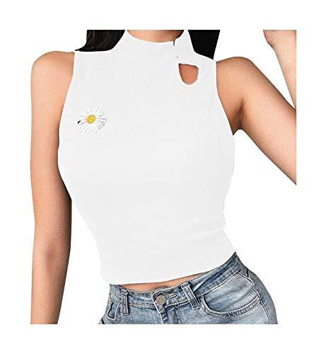 Camiseta recortada de color sólido de cuello redondo Sexy de las señoras, nuevo botón Cardigan All-Match Top de manga corta, estilo de verano (Color : B-2, Size : M)