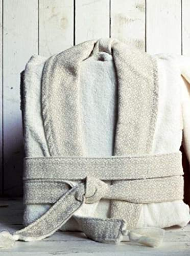 SHIQUE Style Ecru Ultra Luxe Peignoir de Bain en Cotton-for pour Homme - S M