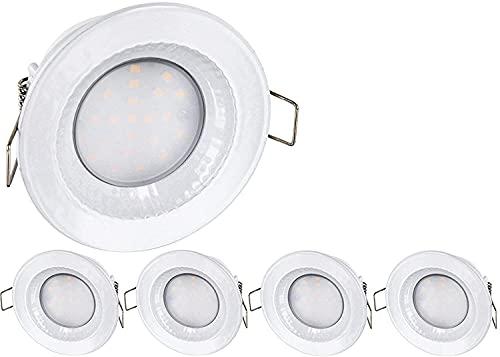 Juego de 5 focos LED empotrables para entornos húmedos IP54, 230 V, 5 W, 460 lúmenes, aluminio fundido a presión, diámetro de 68 mm, luz blanca diurna (4000 K)