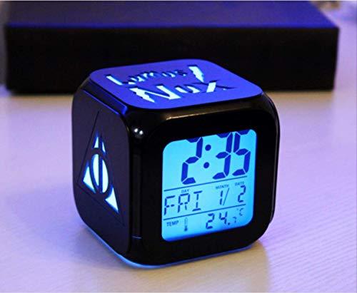 HHIAK666 Creativo Harry Potter 3D Estéreo Pequeño Reloj Despertador, Led Pequeño Reloj Electrónico De Luz Nocturna 8.8Cm Concha Negra A