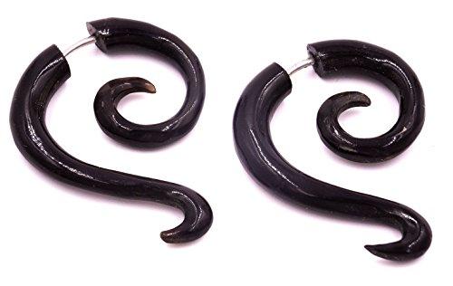 Pendientes falsos dilatadores de cuerno negro para hombre o mujer, unisex, étnico, con forma de espiral.
