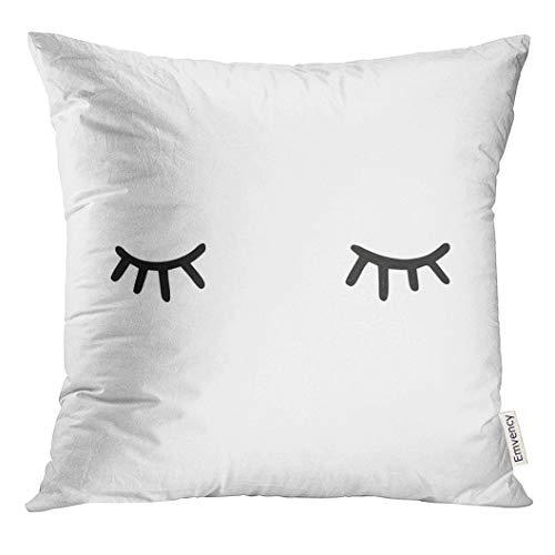UPOOS Capa de almofada preta com olhos dormindo e desenho de ícone, branco, sonolento, decorativo, decoração de casa, quadrado, 40,6 x 40,6 cm
