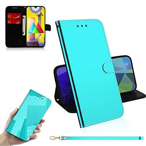 PHONETABLETCASE+ / for Compatible with Samsung Galaxy M31 Lmitated Mirror Surface Horizontal Flip Funda de Cuero con Soporte y Ranuras Tarjetas y Billetera y cordón,Protección de la Cubierta de la CU