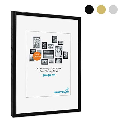 PHOTOLINI Bilderrahmen 30x40 cm Modern Schwarz Kunststoff-Rahmen Poster-Rahmen Schmal mit Glasscheibe