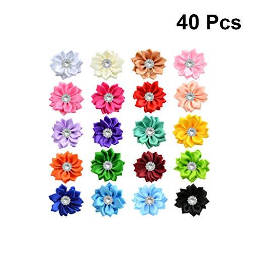 Artibetter Lazos de flores de cinta de raso de 40 piezas con diamantes de imitación adornos de flores de cinta apliques para manualidades decoraciones de boda diy adornos de 4 cm